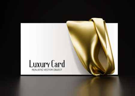 Horizontal white card with a drapery of gold fabric. Vector 3d illustration. Template for presentation, advertising. Ilustracja