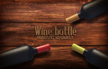 Realistic Vector illustration with three wine bottles on a wooden background. Ilustracja