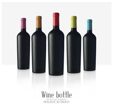 Vector bottls of wine made of black matte glass, isolated on a white background. Alcohol close-up. Soft glares. 3d render.