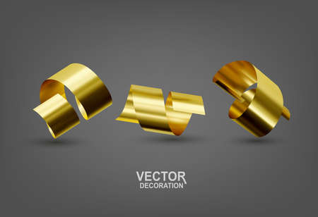 Realistic vector illustration with three gold confetti ribbons. Isolated objects. Elements for design, decoration of holiday cards Zdjęcie Seryjne - 154091907