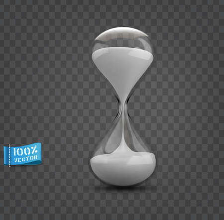 Vector hourglass with transparent glass flask and white sand isolated on gray background.