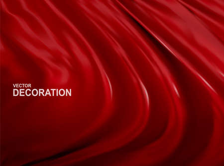 Vector Red silk fabric background. Realistic, 3D Luxurious R Abstract, Decorative backdrop with soft waves of satin drapery. Template for design, poster, banner. Ilustracja