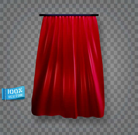 Vector red curtain, isolated. Realistic element for design.