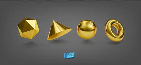 Vector Set of Realistic Golden Geometric Forms. Zdjęcie Seryjne - 154091913