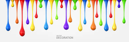 Dripping drops of multicolored acrylic paint.