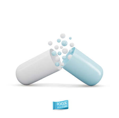 Vector medical template. Opened blue-white capsule with lighte-blue and white balls, isolated on white background. Ilustracja