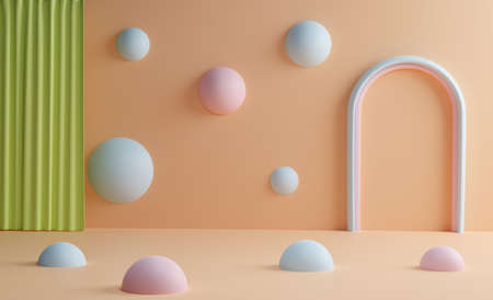 Abstract scene with curtain and blue spheres on against a sand-colored background. 3d render. Modern template for promotion, presentation in pastel colors
