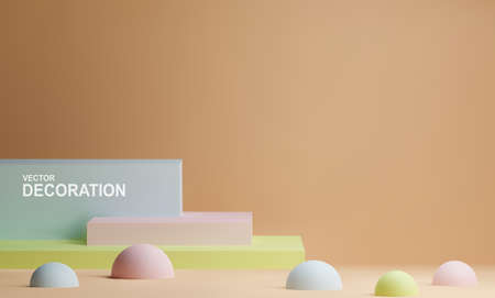 Vector scene with rectangles and hemispheres in pastel colors. Realistic 3d illustration