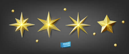 Vector set. Gold stars isolated on gray background. Elements for decorative decoration of festive layouts. Premium gold icons Ilustracja