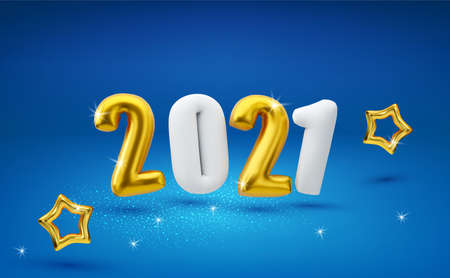 Inflatable, gold and white, volumetric, 3d figures 2021, isolated on a blue background with gold stars. New Year, vector illustration. Template for greeting card, banner. Zdjęcie Seryjne - 155779115