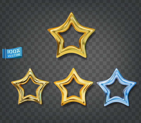 Gold and blue stars isolated on gray background. Vector set. Elements for decorative decoration of festive layouts. Premium gold icons Zdjęcie Seryjne - 155779838