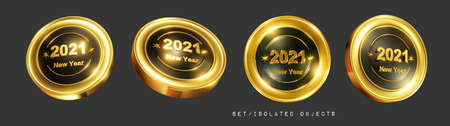 A set of gold round signs of icons, in different positions with a gold volumetric inscription 2021 New Year. Isolated elements on a dark background. 3d illustration. Render. Zdjęcie Seryjne - 155786950