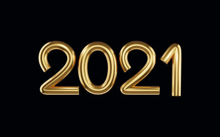 Volumetric Gold digits 2021, the Symbol of the New Year isolated on a dark background. Template for cover, banner, greeting card in a simple, minimalistic style. 3d render. Zdjęcie Seryjne - 156545702
