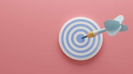 Light blue arrow and darts target aim on the pink background. 3d illustration. Render.Template for design, banner, flyer.