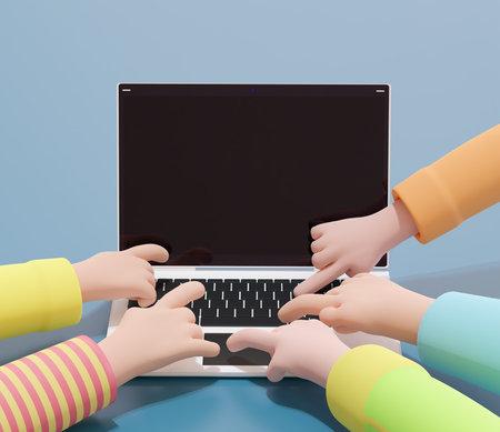 Kids cartoon hands pressing laptop buttons. 3d illustration. Render. Stock fotó