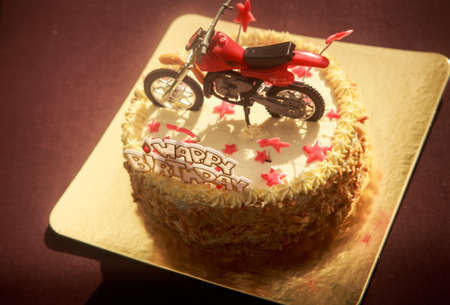 Birthday Cake With Nuts And Vanilla Cream Decorated With