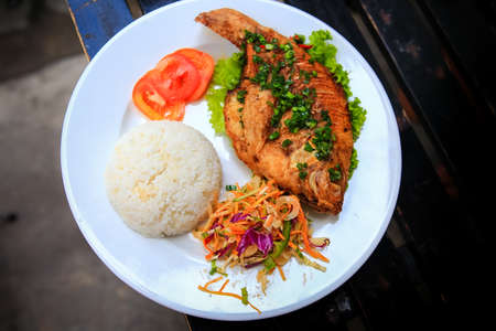 fish plate: view of fried fish with rice and vegetables on white big plate on table