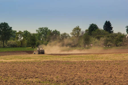 cultivator: tractor cultivator on big wheels operates on ploughed field raises great dust in spring against wheat field and forest Stock Photo