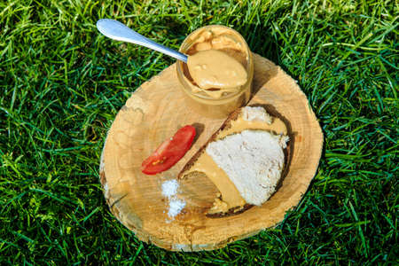 small spoonful of peanut butter on wooden plate with meat sandwich and sliced tomato on green grass background