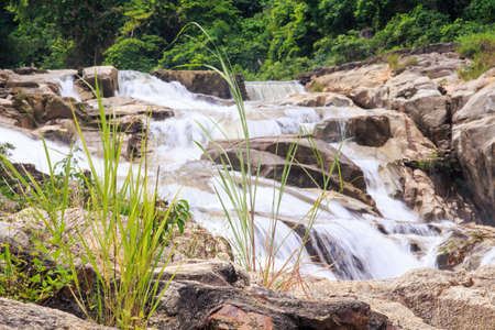 cascade of small foamy mountain river waterfalls along brownstones in tropical park