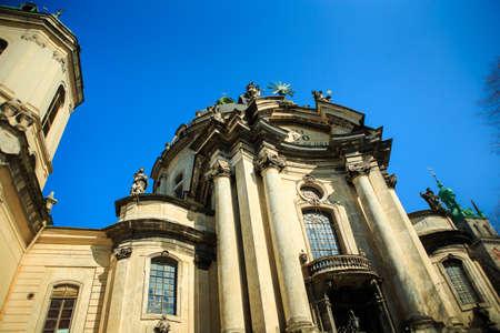 closeup part of dominican church in Lviv city in Ukraine Stock fotó