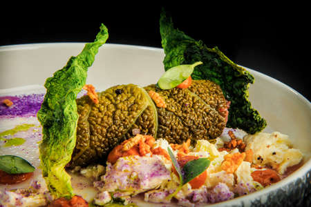 closeup exclusive decorated steamed cabbage rolls stuffed with rice and meat served on modern restaurant plate on black background