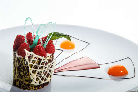 closeup raspberry chocolate dessert with cream mousse filling and modern decoration against white background 写真素材