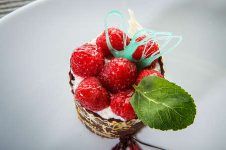 top view macro chocolate dessert with cream mousse filling and fresh raspberry decoration against white background 写真素材