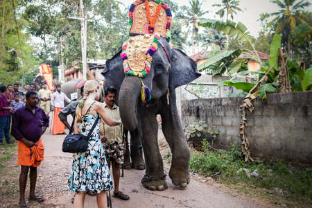 white tourists watch decorated elephants walking by village on traditional festival