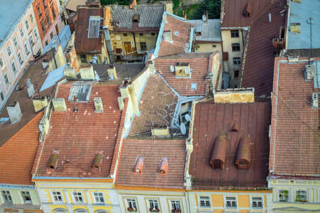 top view from town hall tower on old houses rooftops and inner yards in historical center of Lviv city, Ukraine 写真素材