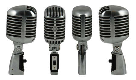 Professional old fashioned microphone over white 1