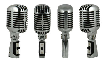 Professional old fashioned microphone over white 2