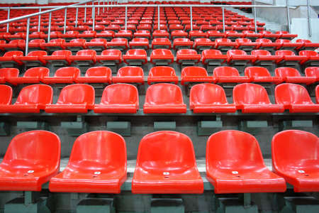 Red sittings of stadiums stand