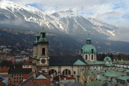birds eye: Birds eye view of the Innsbruck city   Stock Photo
