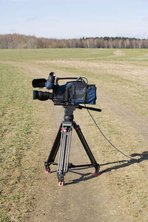 newscast: Professional video camera in the field  1