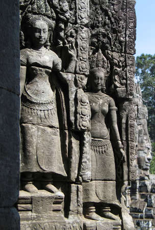 apsara: Bas-relief sculpture of dancing girls Apsara   Stock Photo