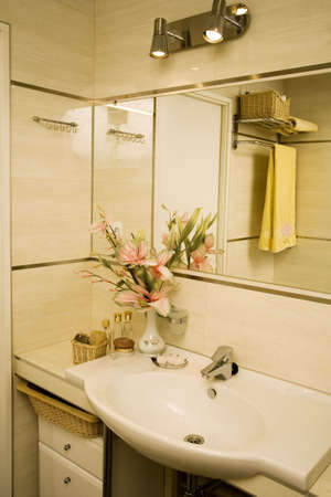 Interior of  bath-room with flowers   Stock Photo