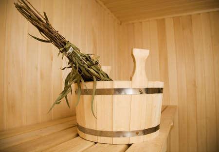 Wooden wash-tub in steam bathroom
