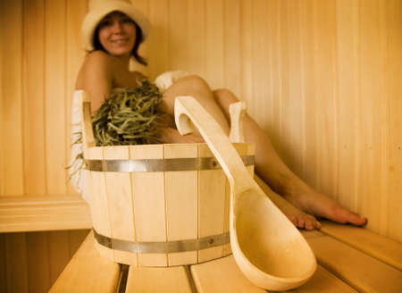Young woman take a steam bath 1   Stock Photo