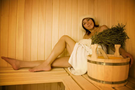 Young woman take a steam bath 3   photo