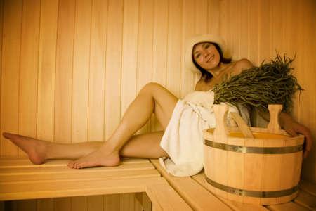 Young woman take a steam bath 3