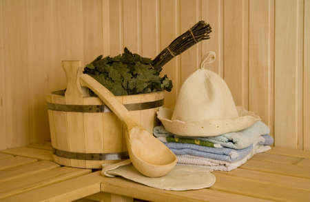 Wooden wash-tub with scoop in steam bath-room   Stock Photo