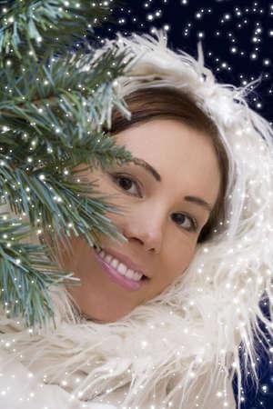 Portrait of young pretty woman wearing white fur  photo