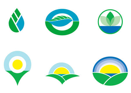 Six various emblems and logotypes. Ecological concept. Vector