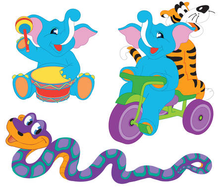 large group of animals: Pretty cute cartoon animals: two elephants, tiger and boa