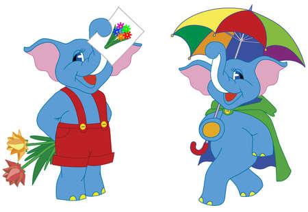 large group of animals: Ilustraci�n vectorial de dos bonitos dibujos elefantes