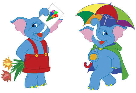 Vector illustration of two pretty cartoon elephants Vector