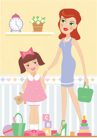 two girls: A vector illustration of a mother with her daughter