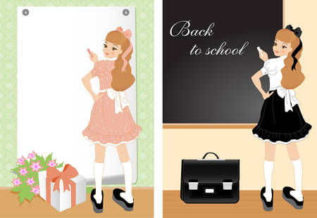 Vector illustration of cheerful girl. Greeting card and school theme in one. Your text