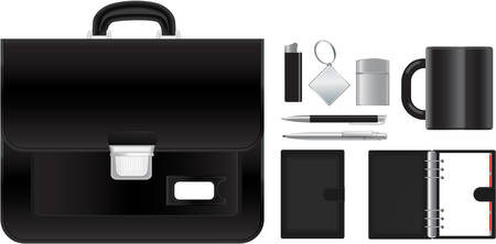 Vector illustration of briefcase with accessories
